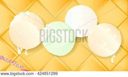Gastronomic Background With Delicate Ice Cream On Waffle Substrate