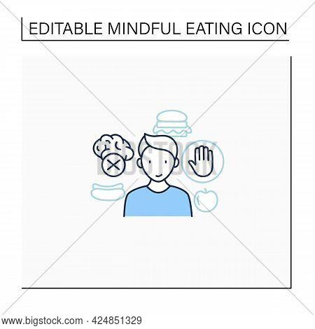 Avoid Eating Mindlessly Line Icon. Conscious Nutrition. Intuitive Eating. Healthcare Concept. Isolat