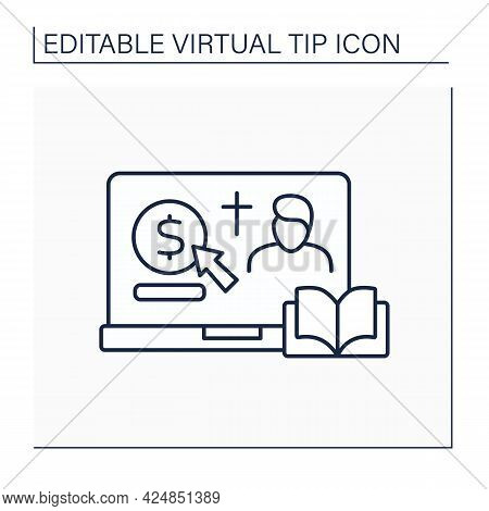 Donation Line Icon. Online Contribution For Church And Priest. Virtual Money Thanks For Services. On