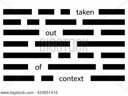 Concept Of Distortion Of Information By Taking Phrases Out Of Context. Vector Illustration