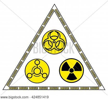 Radiation Sign, Biological Contamination Icon, Chemical Weapons Symbol In Triangle With Words Danger