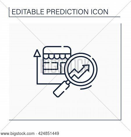 Retail Predictive Analytics Line Icon.shop Diagnostic. Careful, Detailed Research. Business Predicti