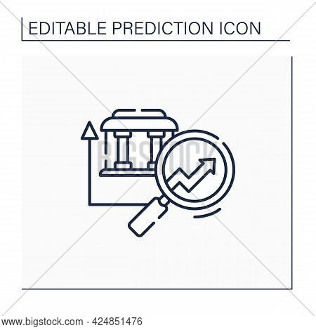 Banking Predictive Analytics Line Icon. Banking System.careful, Detailed Research. Business Predicti