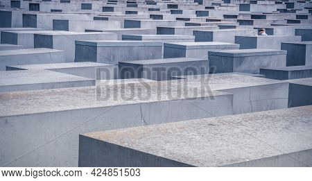 Berlin, Germany - 20 September 2019: Concrete slabs of Berlin Holocaust Memorial, Germany