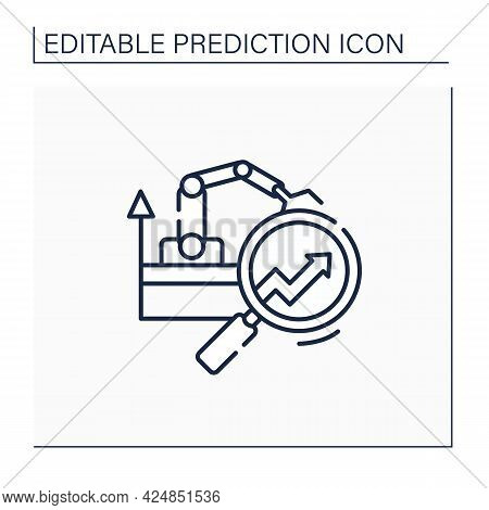 Manufacturing Predictive Analytics Line Icon.provides Operations With Ability To Extract Insight. Au