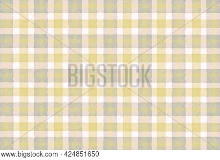 Yellow Gray Beige Checkered Old Vintage Background With Blur, Gradient And Grunge Texture. Classic C