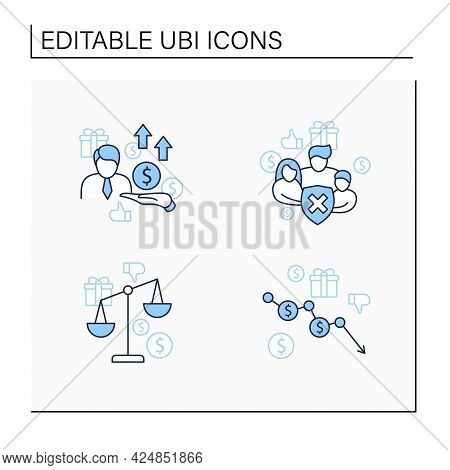 Universal Basic Income Line Icons Set. Inequality, Runaway Inflation, Social Security, New Investors