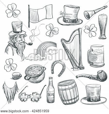 Set Of Drawing Elements To The Holiday Of St. Patrick . Clover , Leprechaun , Beer , Gorshek With Co