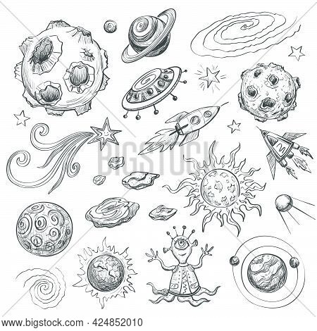Collection Of Black And White Cartoon Drawings On The Theme Of Space. The Planets , Spaceships , Sta
