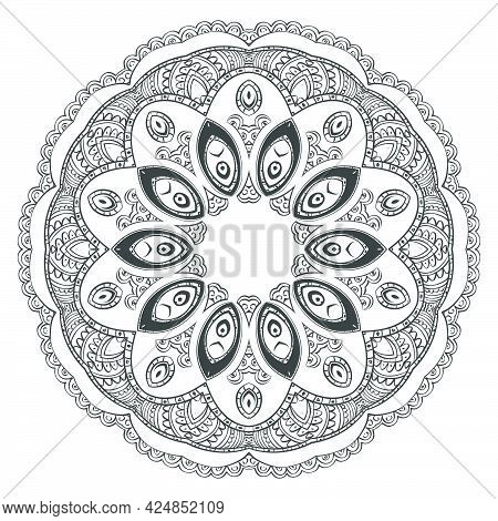 Round Symmetrical Pattern In Oriental Style . It Consists Of Traditional Elements Of Indian Patterns