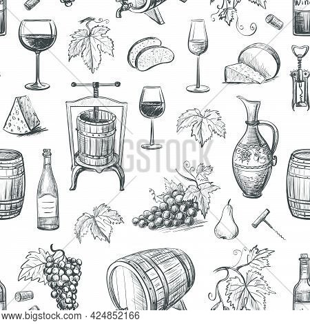 Collection Of Vector Images Of Wine And Winemaking . Isolated Objects On A White Background. Seamles