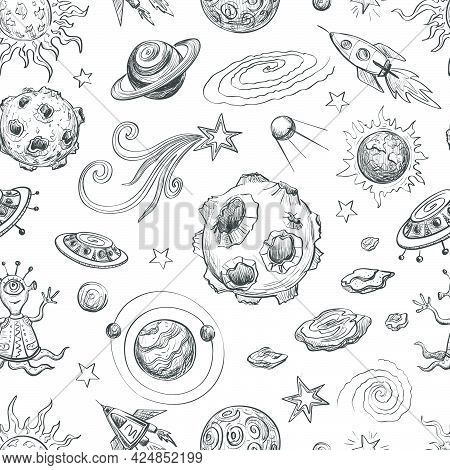 Seamless Black-and- White Pattern With Cartoon Sketches . The Planets , Spaceships , Stars And Comet