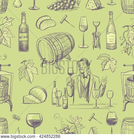 .seamless Pattern Of Wine And Winemaking. Isolated Objects On Olive Background.