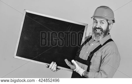 Engineer Project, Copy Space. Architect And Engineering Drawing. Contractor Giving Presentation. Pre