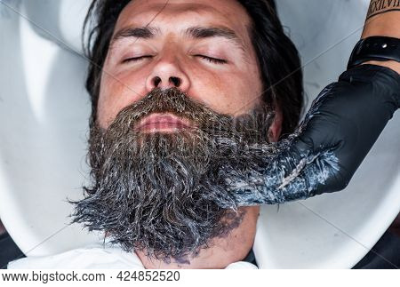 Barbershop Washbasin. Male Trendy Hairdo. Perfect Haircut. Barber Master Cut Hair. Mature Hipster Wi