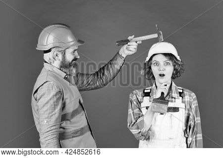 Clearly Explain. Intelligibly Concept. Couple Renovating Apartment Together. Man And Woman Wear Safe