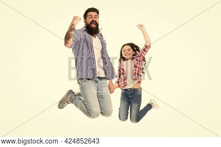 One More Happy Day. Fathers Day Celebration. Father And Little Daughter Jumping On Fathers Day. Bear