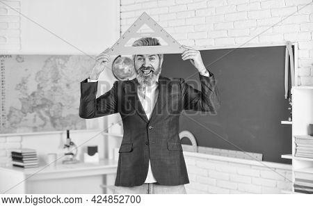 Handsome Bearded Man In Classroom Chalkboard. Modern Teaching Method. Just In Theory. Communicative