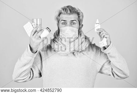 All Means Are Good. Man Ready To Take A Pill. Ill Man At Home. Sneezing And Coughing. Man Got Flu, H