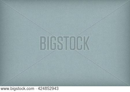 Pale Blue Colored Paper Texture. Light Gray Background With Vignetting. Graceful And Refined Summer