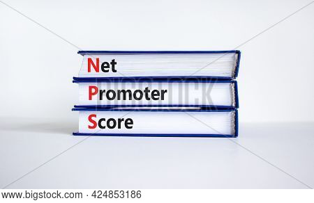 Nps Net Promoter Score Symbol. Books With Words 'nps Net Promoter Score'. Beautiful White Background