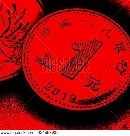 1 One Chinese Yuan Coin Close-up. Dark Black And Red Square Illustration About The Economy, Business