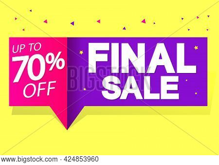 Final Sale 70% Off, Banner Design Template, Discount Tag, Shopping Promo Poster
