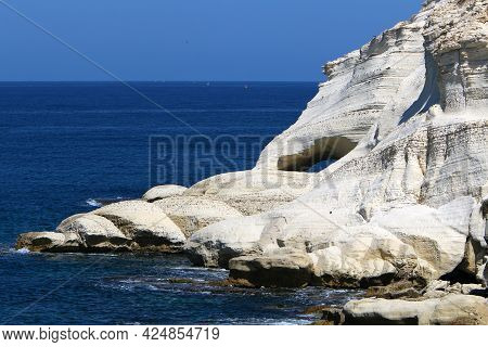 Huge Rocks And Stones On The Shores Of The Mediterranean Sea In Northern Israel