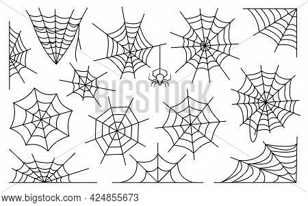 Spiderweb Flat Vector Set. Halloween Decoration With Cobweb. Web Icons Black Outline, Simple Thin Li