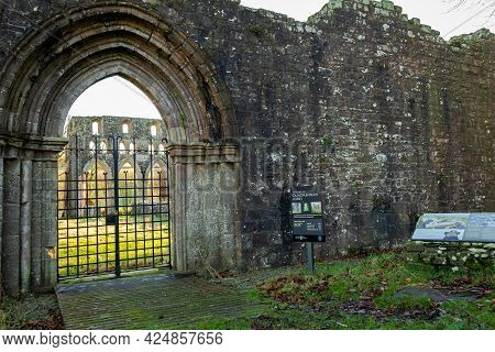 Dundrennan, Scotland - 29th December 2020: The Entrance To Dundrennan Abbey, A Medieval Abbey In Dum
