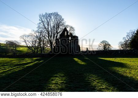 In The Shadow Of Dundrennan Abbey On A Winters Morning In Dumfries And Galloway, Scotland