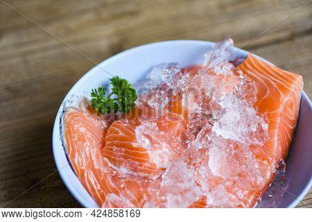 Fresh Salmon Fish, Raw Salmon Filet On Ice