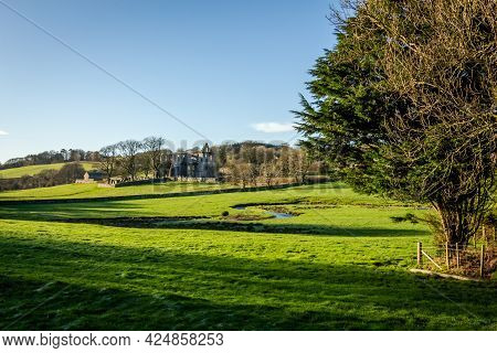 Landscape View Over Dundrennan And The Ruins Of Dundrennan Abbey On A Winters Morning, Dumfries And