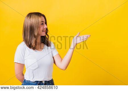 Asian Thai Happy Portrait Beautiful Cute Young Woman Standing Wear White T-shirt Holding Something O