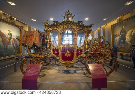 Royal Horse Drawn Carriage In Chapultepec Castle On Chapultepec Hill In Mexico City Cdmx, Mexico. Th