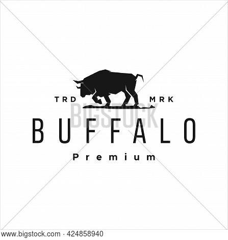 Black Buffalo Logo Design Vector Illustration Template. Vintage Retro Bull, Cattle, Angus And Bison