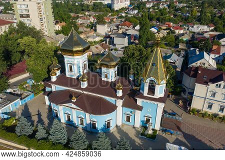 Chisinau, Moldova, August 2020: Aerial view to Ciuflea AKA Sf Teodor Tiron Monastery. Was found by two brothers in 1858, Aromanian merchants who emigrated from Macedonia to Bessarabia in 1821