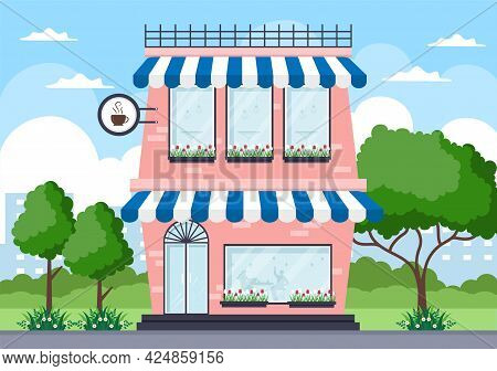 Cafe, Coffeehouse Or Ice Cream Shop Illustration With Open Board, Tree, And Building Store Exterior.