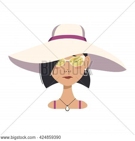 Avatar Of A Crying Woman With Tears, Black Short Hair, A Sad Face, Glasses And A Summer Hat With Dep