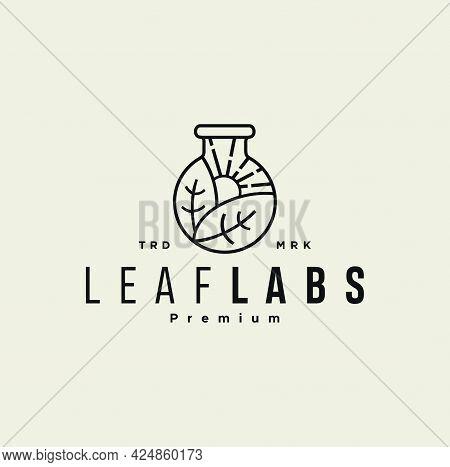 Leaf Lab Logo Line Outline Style Hipster Vintage Icon Illustration. Laboratory Test Tube. Lab Bottle