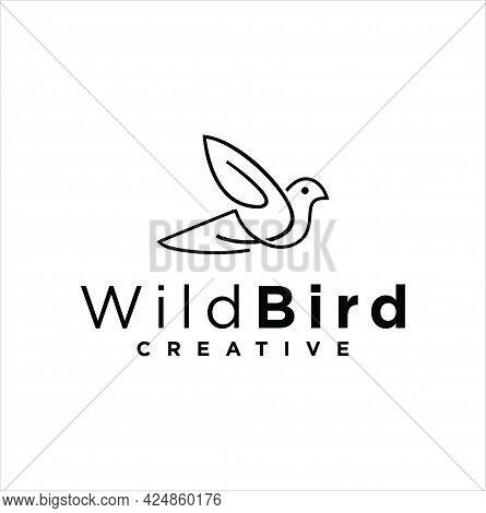 Bird Line Logo Template Ilustration Icon. Abstract Monoline Bird Logo Pigeon Silhouette Flying Templ