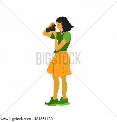 A Young Woman Doing Shots Photography Session. Flat Vector Design Character Illustration With White