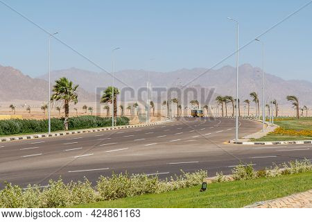 Sharm El Sheikh, Egypt - June 3, 2021: Highway Beside Peace Square In Sharm El Sheikh City In Egypt