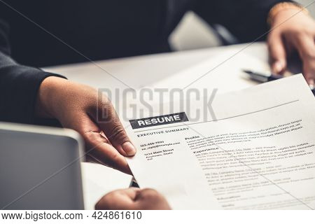 Close Up View Of Employee Candidate Hands Cv Resume Document To The Interviewer Hr Human Resources D