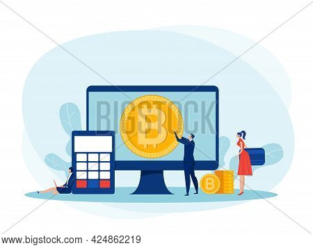 People Investments For Bitcoin And Blockchain. Mining, Currency, Bitcoin Digital Business Concept Ve
