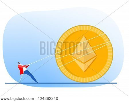 Businessman Pulls Rope Up Arrow Of Ethereum Coin Growth Concept Vector Flat Design.illustrator