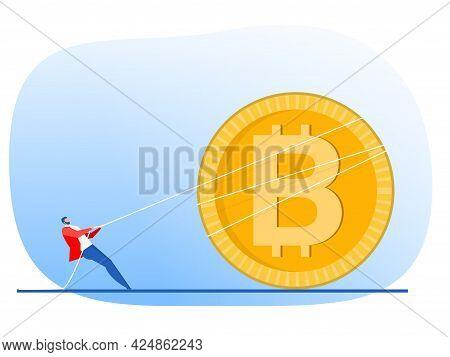Businessman Pulls Rope Up Arrow Of Bitcoin Growth Concept Vector Flat Design.illustrator