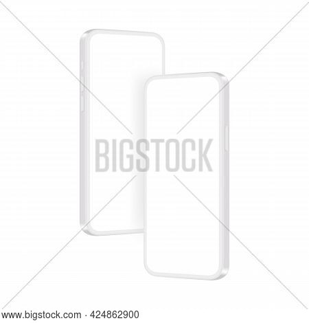 Clay Phones Mockups With Blank Screens, Isolated On White Background, Perspective Side View. Vector