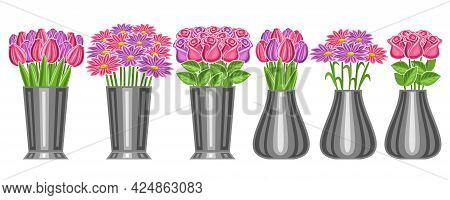 Vector Set Of Flowers In Vases, Lot Collection Of Six Cut Out Illustrations Of Flower Bouquets In St