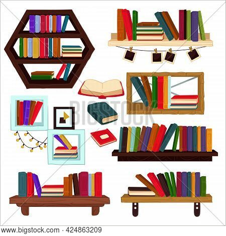 Books And Textbooks On Shelves, Home Furniture